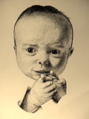 Portrait I did of a client's son. Pen and ink with some pencil on posterboard.