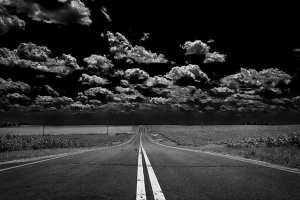 Black and white road